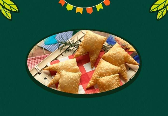 Pastelzinho em formato de bandeirinhas de São João - Receitas da Cajuína São Geraldo